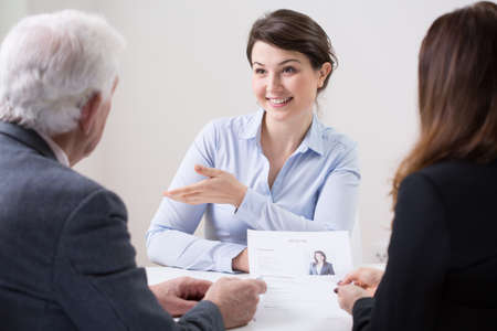 Photo for Human resources team during job interview with woman - Royalty Free Image