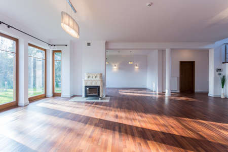 Foto de Image of bright empty living room with wooden floor - Imagen libre de derechos