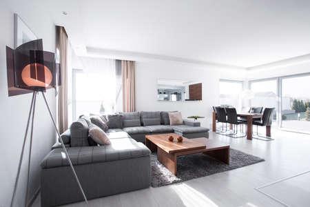 Photo pour Contemporary sitting room with gray corner sofa - image libre de droit