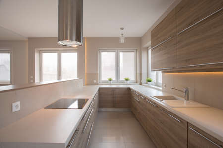 Photo pour Wooden cupboards in beige kitchen in traditional style - image libre de droit