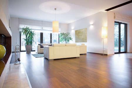 Photo pour Stylish bright living room with wooden parquet - image libre de droit
