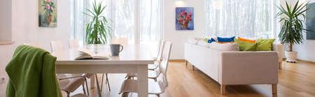 Foto de Panoramic photo of spacious cozy untidy living room - Imagen libre de derechos