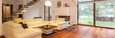 Photo for Panoramic view of modern and elegant living room - Royalty Free Image