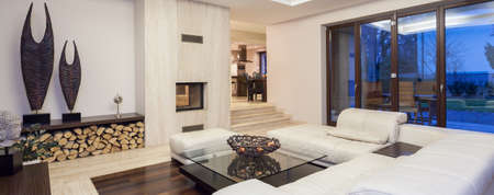 Luxurious living room with beautiful decoration, panorama
