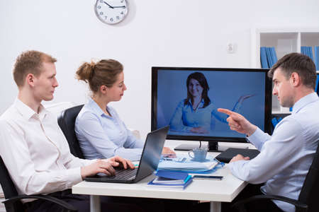 Photo for Modern business people meeting during video conference - Royalty Free Image