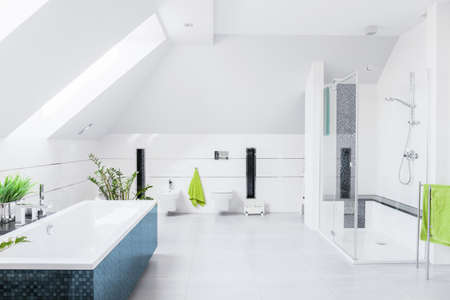 Photo pour Exclusive bright bathroom with white marble floor and inclined wall - image libre de droit