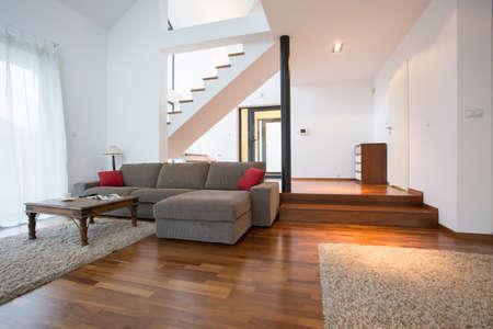 Photo pour Modern design of living room in two storey house - image libre de droit