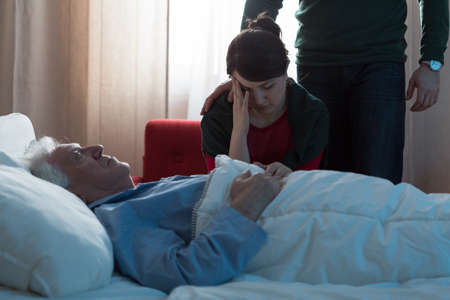 Photo for Young daughter depressed after her father's death in hospital - Royalty Free Image