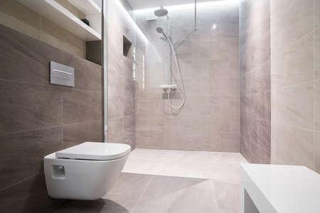Foto de Close-up of white toilet in modern washroom - Imagen libre de derechos