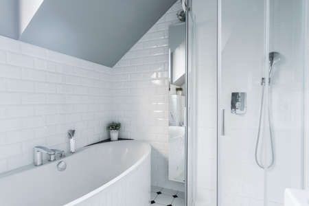 Photo pour Exclusive white bathroom with bath and shower - image libre de droit