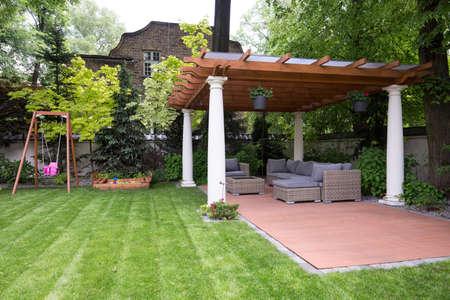 Foto de Picture of beauty garden with modern gazebo - Imagen libre de derechos
