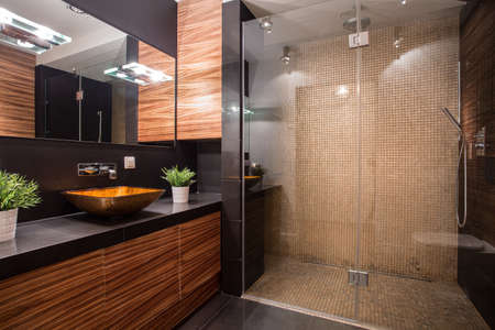 Photo pour New modern bathroom with fancy shower on the wall - image libre de droit