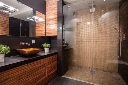 Foto de New modern bathroom with fancy shower on the wall - Imagen libre de derechos