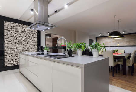 Foto für Picture of designed kitchen with stone wall - Lizenzfreies Bild