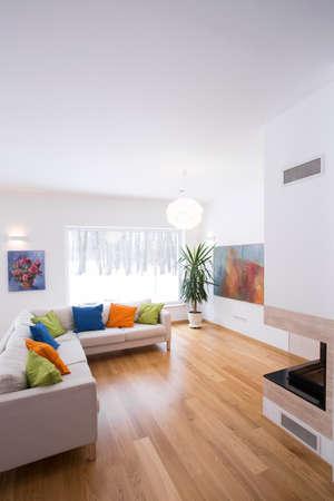 Photo pour Bright living room interior with color details - image libre de droit