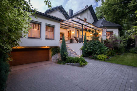 Photo for Exterior of luxury residence with cozy terrace - Royalty Free Image