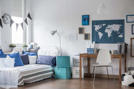 Foto de Horizontal view of designed teenage boy room - Imagen libre de derechos