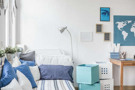 Photo for White and blue designed teen boy bedroom - Royalty Free Image