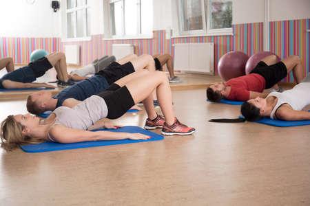 Photo pour View of workout on a foam mattress - image libre de droit
