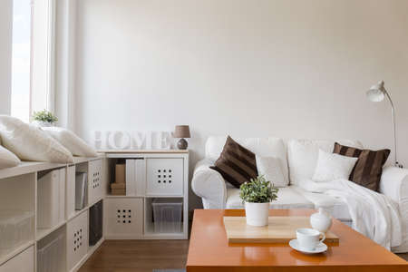 Photo pour Space for relax in stylish white apartment - image libre de droit