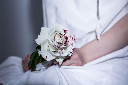 Photo for White bloody rose - metaphor of sexual assault - Royalty Free Image
