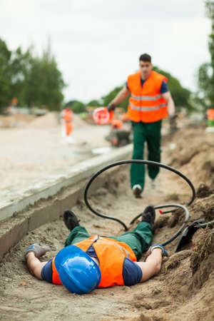 Photo pour Picture of fatal injury in the workplace - image libre de droit