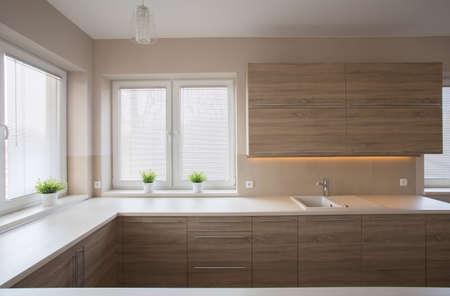 Photo pour Simple modern spacious kitchen with wooden furniture - image libre de droit
