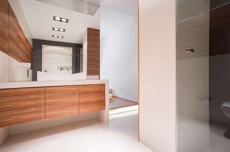 Photo pour Image of spacious bathroom with decorative wood imitation tile - image libre de droit
