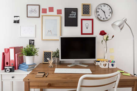 Photo pour Designed modern workspace with white desktop computer - image libre de droit