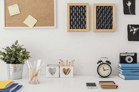 Foto de Close-up of stylish desk with designed equipment - Imagen libre de derechos