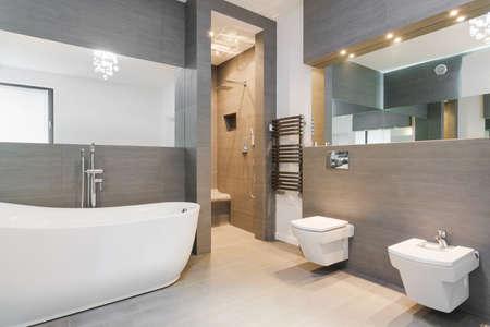 Photo pour Elegant spacious bathroom decorated in classic style - image libre de droit