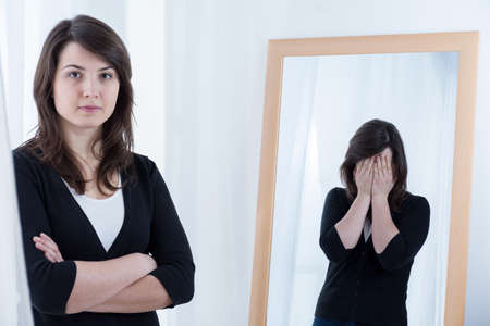 Photo for Portrait of desperate woman hiding her bad mood - Royalty Free Image