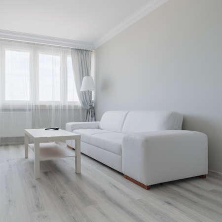 Foto de Horizontal view of white living room design - Imagen libre de derechos
