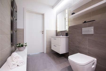 Photo pour Image of spacious light bathroom with grey tiling - image libre de droit