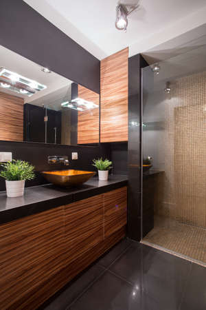 Foto de Picture of black and brown bathroom design - Imagen libre de derechos