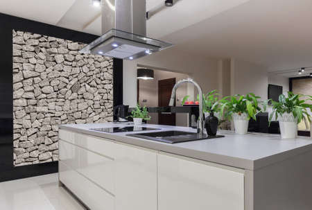 Foto für Photo of beautiful white kitchen island with decorative wall - Lizenzfreies Bild
