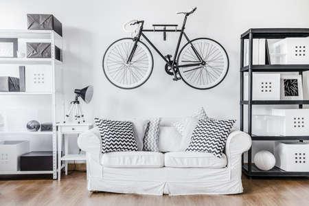 Foto de Black and white contemporary interior in minimalist style - Imagen libre de derechos