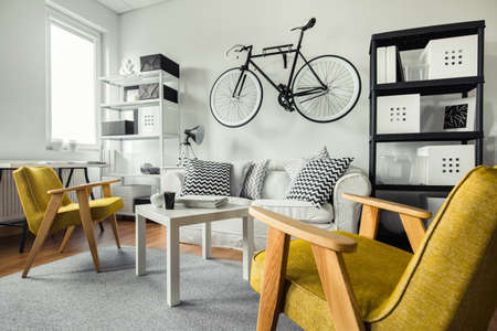Modern space - yellow armchairs in black and white living room