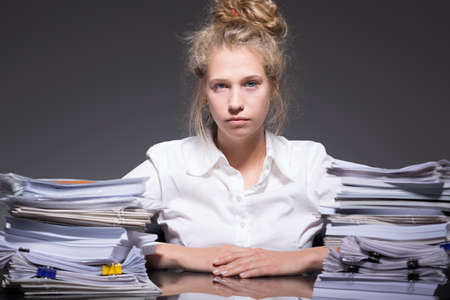 Photo for Picture of tired ambitious female trainee abused by employer - Royalty Free Image