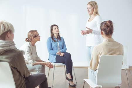 Photo pour Meeting or workshop for modern active women - image libre de droit
