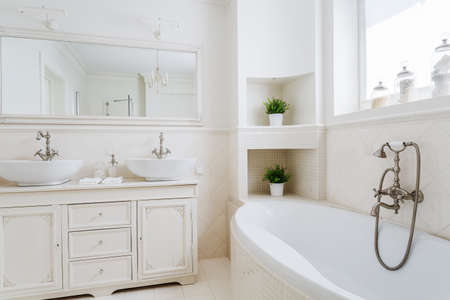 Photo for Light bathroom with two sinks and big mirror - Royalty Free Image