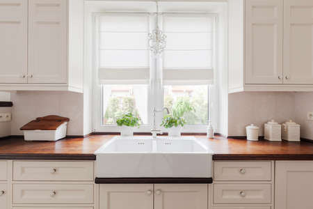 Foto de Picture of elegant kitchen furniture with solid wooden worktops - Imagen libre de derechos