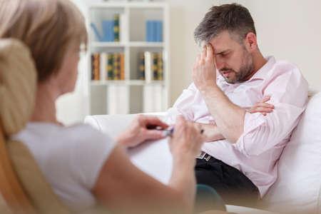 Photo pour Photo of stressed businessman with mental problem - image libre de droit