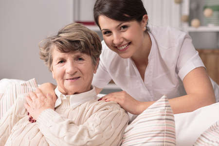 Foto per Image of elderly woman having professional medical care - Immagine Royalty Free
