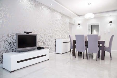 Photo for Shining silver wallpaper in exclusive modern residence - Royalty Free Image