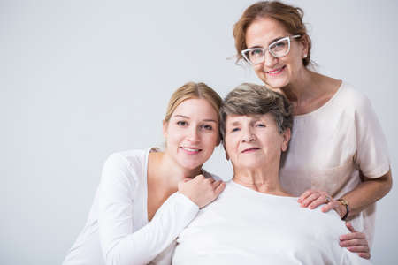 Image of intergenerational family relation between happy women