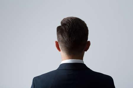 Photo pour Closeup of back of young man's head - image libre de droit