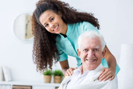 Photo pour Image of elderly man having private home care - image libre de droit