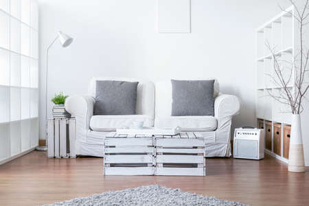Photo for Living room with sofa and handmade small table - Royalty Free Image