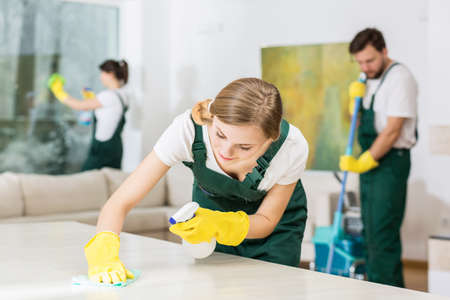 Foto de Pretty young girl hardworking as a professional cleaner - Imagen libre de derechos